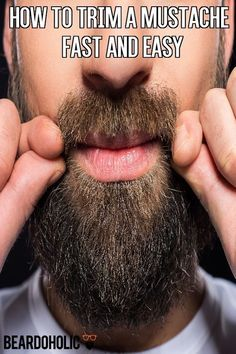 How To Trim A Mustache Fast And Easy - Beardoholic Beard And Mustache Styles, Beard No Mustache, Hair And Beard Styles, Grow A Thicker Beard, Thick Beard, Mustache Grooming, Beard Grooming, Beard Hair Growth, How To Trim Mustache