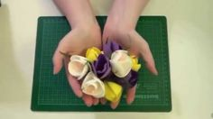 Крокус из фоамирана. Мастер класс Diy Lace Ribbon Flowers, Clay Flowers, Fabric Flowers, Flower Video, Gum Paste Flowers, Cake Tutorial, Cold Porcelain, Flower Crafts, Flower Making