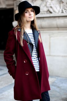From thenletitbe.tumblr.com. The color of this coat is sensational! I love the pairing with the stripes.
