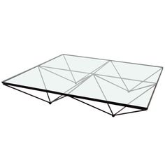 Wrought Iron with Glass Geometric Theme Coffee Table by Paolo Piva | From a unique collection of antique and modern coffee and cocktail tables at http://www.1stdibs.com/furniture/tables/coffee-tables-cocktail-tables/