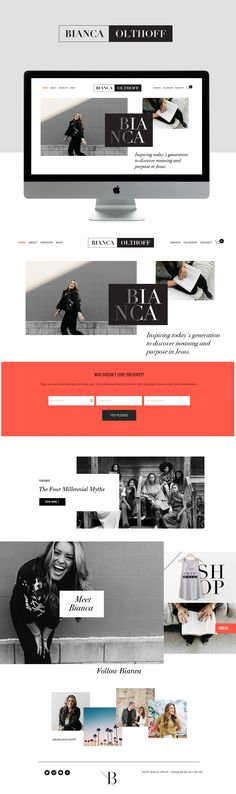 Bianca Olthoff Is Live On Squarespace — GoLive: Squarespace Website Templates Website Design Inspiration, Blog Website Design, Blog Design, Beautiful Website Design, Website Ideas, Design Ideas, Custom Web Design, Best Web Design, Online Web Design