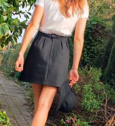 Handmade, black mini skirt, pleats by TheThirdTwirl on Etsy