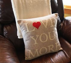 16x16 Love You More Appliqued Pillow CoverMade by KelsCozyCorner, $45.00