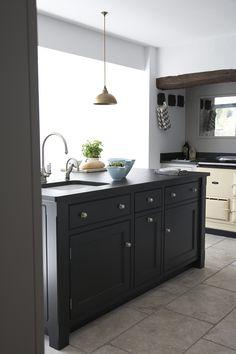 "Classic Contemporary Victorian Kitchen Extension | Cream 2 oven Aga & bold kitchen island in ""Off-Black""."