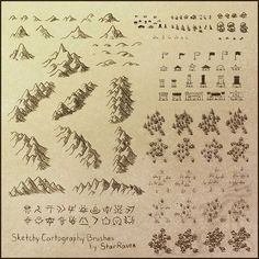 world building concept. Perfect for my pirate map! Sketchy Cartography Brushes by StarRaven in both PNG and Photoshop ABR format. Texture Photoshop, Free Photoshop, Photoshop Brushes, Photoshop Actions, Fantasy Map Making, Fantasy World Map, Map Symbols, Rpg Map, Map Icons