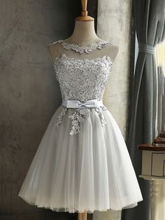 Grey Lace Bow Grenadine Lace-up Bridesmaid Elegant Tutu Homecoming Mini Dress - . - Grey Lace Bow Grenadine Lace-up Bridesmaid Elegant Tutu Homecoming Mini Dress – Source by - Hoco Dresses, Short Bridesmaid Dresses, Sexy Dresses, Dress Outfits, Silver Dama Dresses, Mini Dresses, Formal Dresses, Unique Homecoming Dresses, Bridesmaid Ideas
