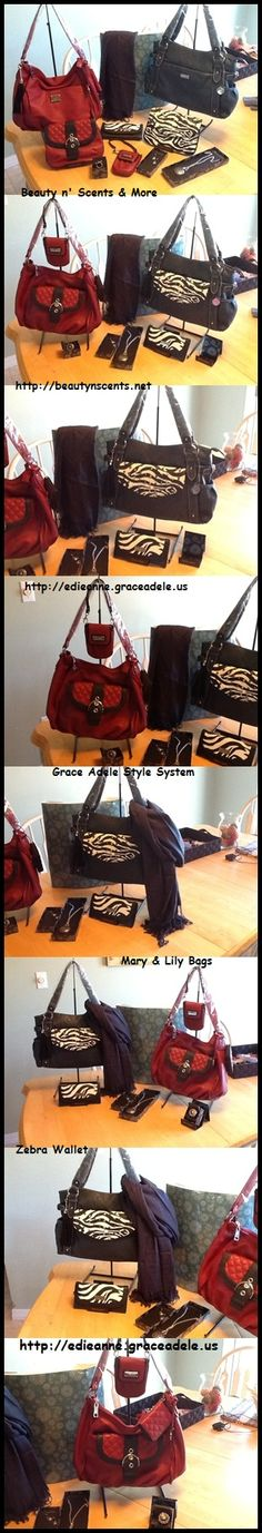 My Personal Collection of Grace Adele Bags, Clutches, Jewelry & Scarves!  http://edieanne.graceadele.us