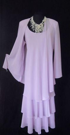 CATTIVA (NEW YORK) Lilac, Layered Dress and Floaty Jacket, size UK14, suitable for Mature Bride, Mother of the Bride/Groom, Wedding Guest, Races or any Special Occasion