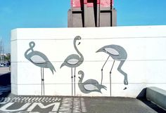 Flamingo love from Lisbon streetart #alcantara #flamingos #grafite #paisagem #graffiti #streetart #artederua #ponte25deabril #pink #pinkandblue #25abrilbrige #brige