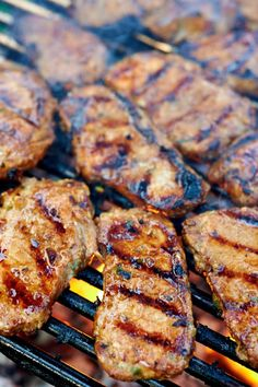Killer grilled pork marinade featuring delicious Asian-inspired flavors made with readily available ingredients. Pork Recipes For Dinner, Pork Chop Recipes, Grilling Recipes, Cooking Recipes, Meat Recipes, Marinated Pork Chops Grilled, Pork Chop Marinade, Pork Chop Casserole, Recipes