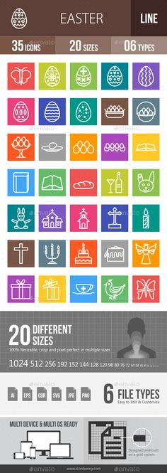 35 #Easter #Line #Multicolor B/G Icons - Icons
