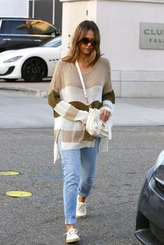 Jessica Alba wearing Proenza Schouler Ps1 Pouch in White and Faithfull the Brand Isabel in Natural Stripe