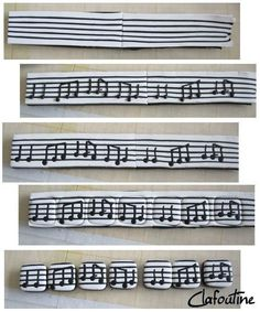 polymer clay music bracelet could easily trace sheet music on shrink plastic Fimo Polymer Clay, Polymer Clay Bracelet, Polymer Clay Miniatures, Polymer Clay Projects, Polymer Clay Creations, Biscuit, Clay Design, Clay Tutorials, Clay Charms