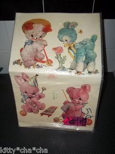 """Vintage Childrens Nursery Crib Animal Decals Meyercord """"Cutie"""""""