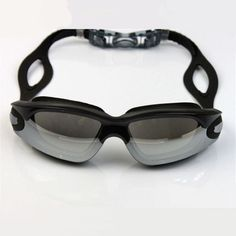 Safety Adult Swimming Goggles Black Adjustable Soft Silicone Head Strap