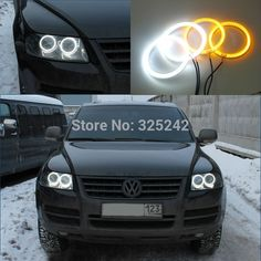 69.00$  Watch here - http://alicfj.worldwells.pw/go.php?t=32435066259 - For Volkswagen VW Touareg 2003-2007 Excellent Ultrabright Dual Color Switchback smd LED Angel Eyes Halo Rings kit