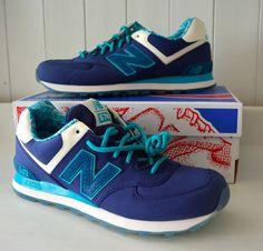 NIB! Mens NEW BALANCE 574 Sneakers LUAU Blue 9.5 D Medium Fashion SHOES Running #NewBalance #AthleticSneakers