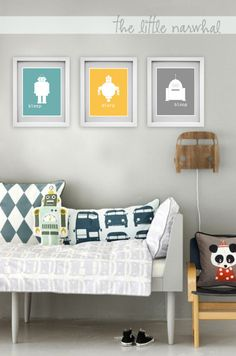 Set of 3 Robot Nursery Prints- 8x10. $26.00, via Etsy.