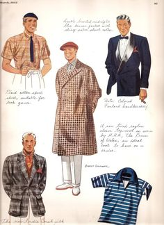 Esquire Fashion plates - March 1935 from casual to sporty to full formal.