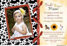 cow 1st birthday invite   Farmgirl Birthday Photo Invitation - 3rd Party Girl's Bandanna Animals