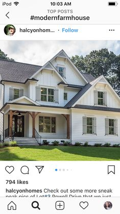 This is exactly what I want! But with a tin roof White Houses, White Exterior Houses, White House Exteriors, House Paint Exterior, Exterior House Colors, Farmhouse Exterior Colors, Farmhouse Shutters, Farmhouse Windows, White Siding