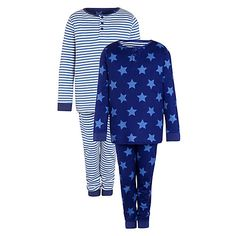 Buy John Lewis Boy Stars and Stripes Pyjamas, Pack of 2, Blue Online at johnlewis.com