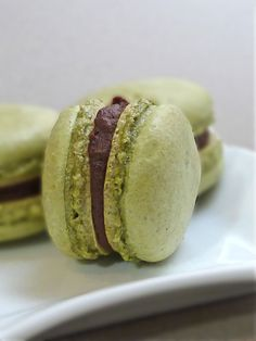 a mouthful of incredible flavor! Only thing to ratchet up the texture flavor component is crushed pistachios.' Matcha Macaron w Bittersweet Ganache Green Tea Macarons, Chocolate Ganache Filling, French Macaroons, Matcha Green Tea, Me Time, Just Desserts, Sweet Tooth, Sweet Treats, Favorite Recipes
