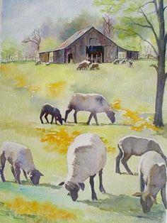 Grazing Sheep by Sue Lynn Cotton Watercolor Barns, Watercolor Animals, Watercolor Landscape, Watercolour Painting, Painting & Drawing, Landscape Paintings, Watercolours, Sheep Paintings, Animal Paintings