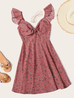 Plus Ruffle Trim Knot Front Ditsy Floral Dress Plus Ruffle Trim Knot Ditsy Blumenkleid - GaGodeal Dresses Elegant, Pretty Dresses, Casual Dresses, Fashion Dresses, Fashion Clothes, Dresses Dresses, Wedding Dresses, Awesome Dresses, Casual Outfits