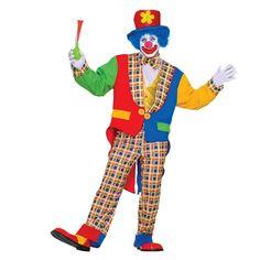 Clown Costume - Adult, Men's, Multicolor