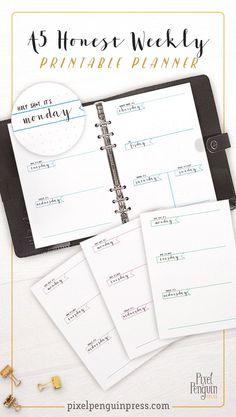 Planner Dividers, Planner Inserts, Planner Ideas, Bullet Journal, A5 Binder, Light Grid, Refillable Planner, Weekly Planner Printable, Layout
