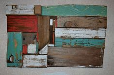 Reclaimed Barn Wood Abstract Wall Art Sculpture Eco-Friendly Decor Modern Blue