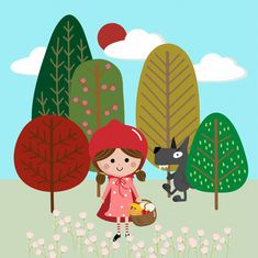 People Illustration, Illustration Art, Canvas Paintings For Sale, Hansel Y Gretel, Belle And Boo, Red Ridding Hood, Literacy Day, Traditional Tales, Pastel Background