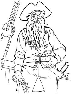 captain teague pirates of the caribbean coloring page