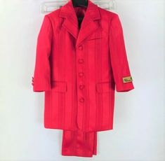Falcone Boys 3 Piece Red Striped Suit Size 4R Waist 20-23 5 Button Front #Falcone #SingleBreastedSuit #DressyHolidayPageantPartyWedding Blue Striped Suit, How To Hem Pants, Unique Gifts For Men, Tie Set, Jacket Buttons, Black Stripes, 3 Piece, Duster Coat, Suits