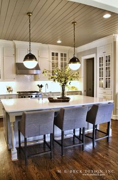 Kitchen layout. I might use different colors, but love the idea of a color on the ceiling. I LOVE LOVE THIS CEILING!