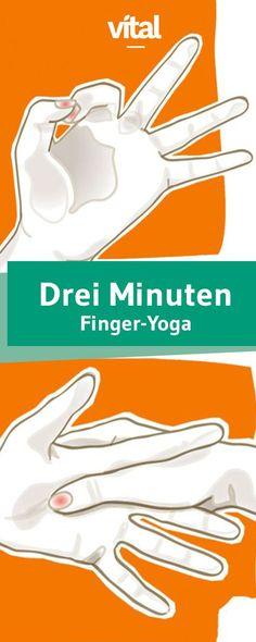 Schon drei Minuten Finger-Yoga genügen, um Kopfschmerzen vorzubeugen oder im akuten Fall auch zu mindern. Nehmen Sie sich am Morgen, mittags und abend
