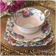 Beautiful Vintage AYNSLEY fine china trio. Teacup, Saucer and Tea Plate. Pink with blue and white, pink roses. Tea cup.