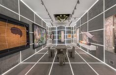 bureau betak the booth installation for galerie gmurzynska has been conceived as an electrifying LED-lit concrete grid
