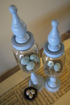 A Diamond in the Stuff: Spring Primitive Apothecary Jars Cheap Wedding Decorations, Spring Decorations, Table Decorations, Diy Outdoor Kitchen, Diy Baby Gifts, Mason Jar Lids, Ceramic Birds, Apothecary Jars, Diy Wood Projects