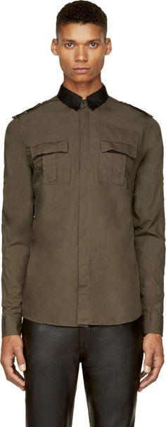 Balmain: Green Military Shirt   SSENSE