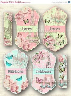 Half Price Sale Spring in Paris Ribbon or Lace Holder - INSTANT Digital Download