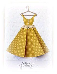I do love a paper dress! Princess Dress Patterns, Wedding Dress Patterns, Origami Vestidos, Origami Dress, Dress Card, Other Outfits, Lovely Dresses, Diy Cards, Homemade Cards