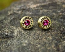 40 Caliber Bullet Earrings -  Brass Casings - Hot Pink Crystals - Federal - Ballistic Jewelry - Cowgirl - Country - Hunter - Western Jewelry