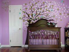Purple walls for a purple nursery. Love the tree blowing in the wind. Baby Bedroom, Nursery Room, Girl Nursery, Girls Bedroom, Nursery Decor, Nursery Ideas, Bedrooms, White Nursery, Baby Rooms