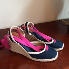 Navy J Crew lace up espadrille platforms size 9 J.Crew Sardinia Wedge Espadrilles Canvas  with pink ankle tie laces. Navy Wedge Shoes Size 9. Worn once, excellent condition.. 4 inch heel, 3/4 inch platform J. Crew Shoes Espadrilles