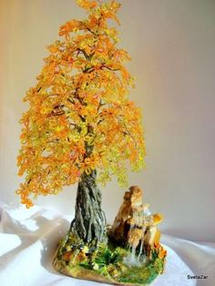 Autumn wire bead tree bonsai