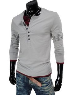 Amazon.com: TheLees (VT09) Mens Casual Long Sleeve Layered Style Button Tshirts: Clothing