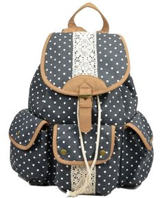 Amazon.com: Multi-function Practical large capacity Leisure outdoor Canvas Polka Dot Rucksack Backpack campus Tote Handbag Satchel Campus computer travel Book bag Schoolbag for teen girls / college student (navy-blue): Sports & Outdoors