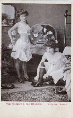 Late 1800s Victorian Boudoir Antique Postcard